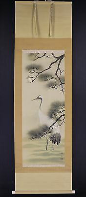 "JAPANESE HANGING SCROLL ART Painting ""Crane"" Asian antique  #E5956"
