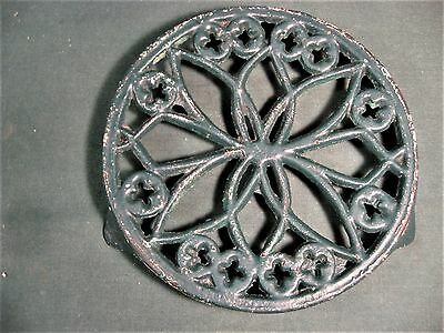"Antique Cast Iron Trivet 7-1/2"" Round"