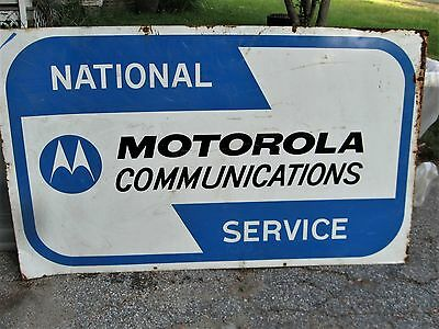 SCARCE! VINTAGE MOTOROLA COMMUNICATIONS NATIONAL SERVICE METAL SIGN 3' x 6'