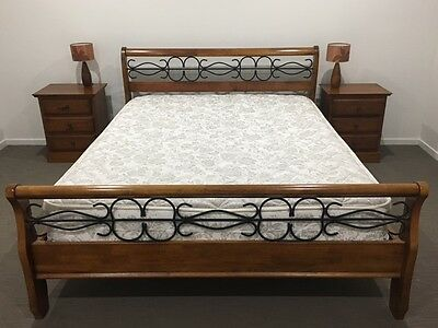 Queen Bed with mattress and cabinets