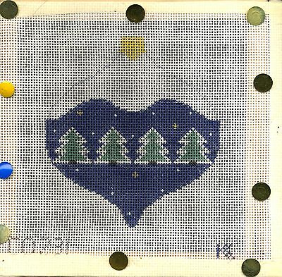Kathy Schenkel Evergreen Trees Painted Canvas Ornament on Stretcher Bars