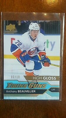 16-17 UD Anthony Beauvillier High Gloss Young guns #2/10 Rookie Card RC