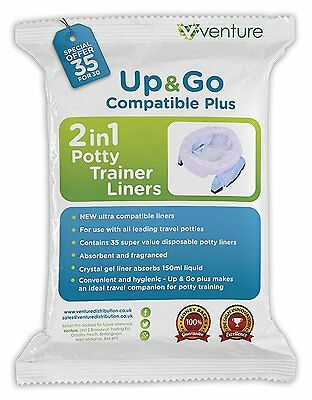 Potette Plus 100% Compatible Absorbent Crystal gel Travel Potty Liners - 35 Pack