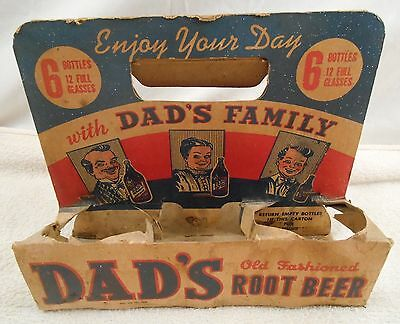 VINTAGE DAD'S ~6 PACK~ OLD FASHIONED ROOT BEER - Cardboard Carrier ( Rare )