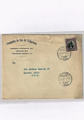 R) 1921 Chile, Valparaiso Usa Envelope With Advertising Gas Company