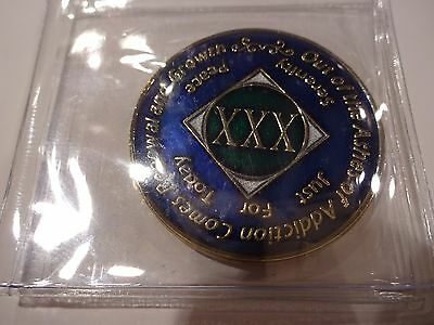 NA Blue Gold Coin 30 Year Tri-Plate Narcotics Anonymous Medallion +Capsule&Stand