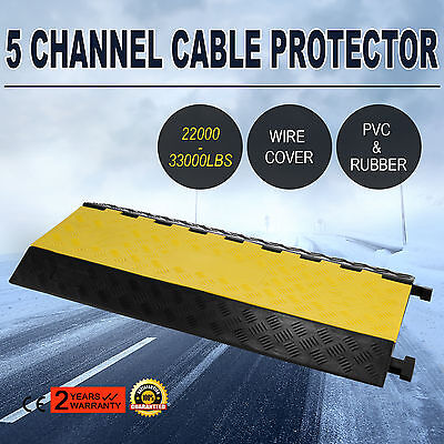 5-Cable Rubber Warehouse Vehicle Electrical Wire Cover Ramp Protector Snake Cord