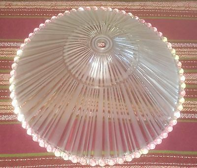 "Vintage Art Deco Hobnail Frosted Glass Ceiling Light Fixture Shade 11"" Diameter"