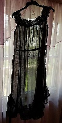 Vintage 1940s Black Chiffon and Lace Long Sheer Nightgown  and Black Panties  L