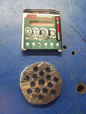 """New #10/12 Carbon Steel Plate W/3/8"""" Hole Meat Sausage Grinder Chopper"""