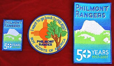 Philmont Ranger Back Patch and 2 50th Anniv Ranger Patches