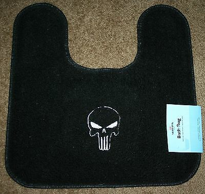 """Punisher"" Black Bathroom Contour Rug 20""x20"" w/machine embroidery"