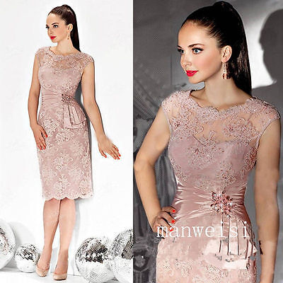 Knee-Length Mother Of The Bride Dresses Pink Lace Appliques Party Proms Custom
