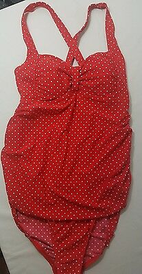 Motherhood Maternity Womens Small One Piece Swimsuit Red Retro Polka Dots