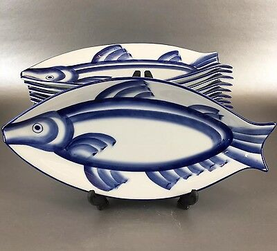 Set Of 6 Chinese Blue And White Porcelain Fish Plate Asian Pottery Sushi