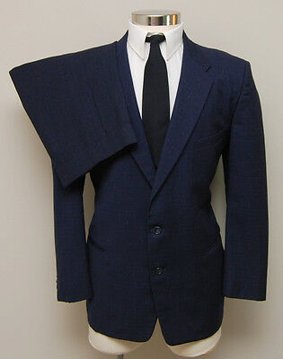 Vintage 1960s Mens 44S Robert Hall 2 piece  Blue&White Wool Suit Theater Costume
