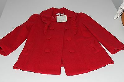 BNWT Girls Origami Red Breasted Jacket Coat Wool Size 5 rrp $75.95