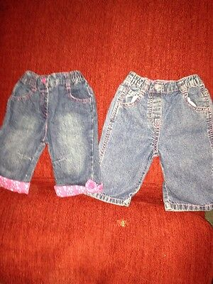 2 Pairs Girls Jeans Age 3-6M