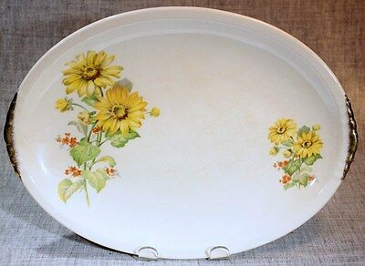 "PADEN CITY POTTERY USA ""Shell Krest Yellow Daisies"" Oval Platter PCP193 1940s"