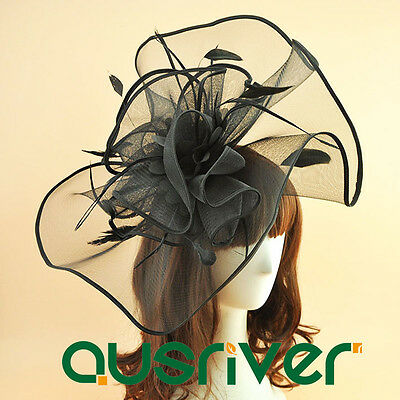 Top Hat Flowers Fascinator Womens Black Hat Wide Brim Fashion Race Day Hat 1/box
