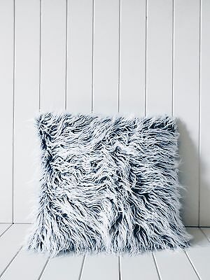 Grey Mongolian Faux Fur Cushion Pillow Case Throw Living Nursery Bedroom Decor