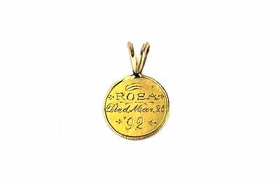 1852 $1 US Gold Love Mourning Token Died 1892