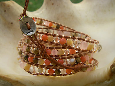 CHAN LUU bracelet perles cristales Natural Agate Beads and Crystal Leather cuir