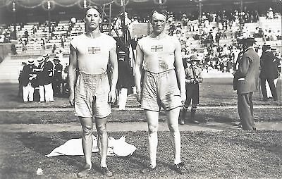 1912 Stockholm Olympics Offical Postcard ~  Sweden Decathalon Medal Winners