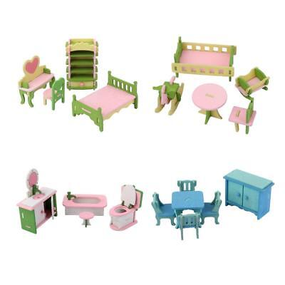 1:12 Dollhouse Miniature Wood Furniture Sets Table Chair Cupboard Bed Room Decor
