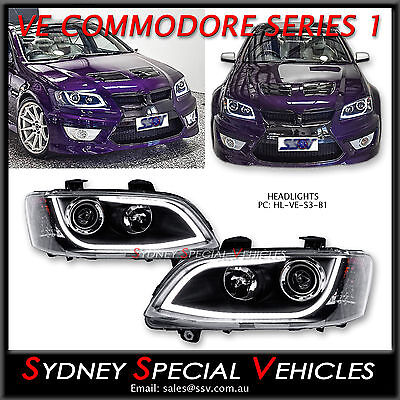Ve Commodore Drl Headlights Series 1 Black With Led Daytime Running Lights