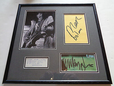 T Rex Marc Bolan Autograph Signed Display With Large Signatures  And Note