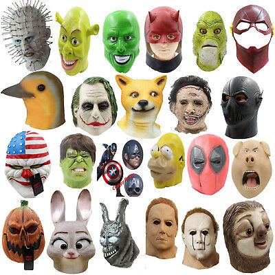 Latex Mask Full Head Cosplay Horror Masquerade Halloween Adult Party Helmet Mask