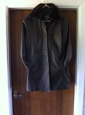 M & S Brown Leather Butter Soft  Coat/Jacket Size 14
