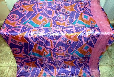 Pure silk Antique Vintage Sari Saree Fabric REUSE 4y Bu 1313 Multi-color #ABK4I