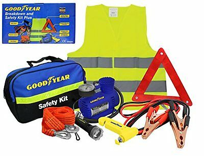 Goodyear 8pc Vehicle Safety Kit: High Visability Vest/Bib, Tow Rope, Jump