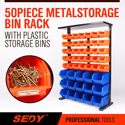 NEW 50 PC Bin Storage Rack Nuts Bolts Organizer Heavy Duty Stable High Quality