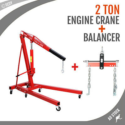 2 Ton Hydraullic Engine Hoist + Balancer Leveller Lift Crane Folding Mobile Shop