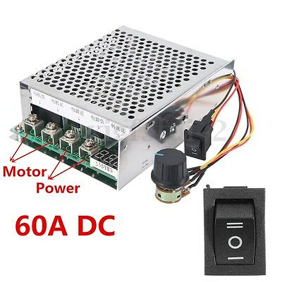 60A DC 10-55V Motor Speed Controller Reversible Governor Switch Digital Driver