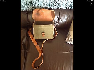 Vintage Army Military Issue Shoulder Bag. Leather And Canvas Quality