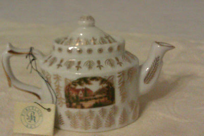 Collectable Porcelain Art Miniature Teapot With Tag - Rural House Scene