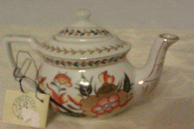 Collectable Porcelain Art Miniature Teapot With Tag - Ornate Floral Design