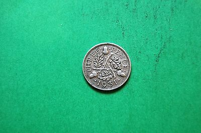 1931 Three (3d) Pence George V British Silver Coin