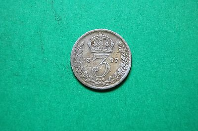 1897 Three (3d) Pence Queen Victoria British Silver Coin