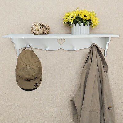 Heart Shaped Floating Wall Shelf Bookshelf Display Storage With Coat Hook White