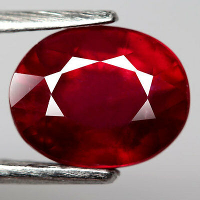 3.37Ct.dazzling! Oval Facet Top Blood Red Natural Ruby Madagascar