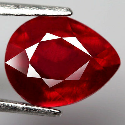 3.85Ct.captivating! Pear Facet Top Blood Red Natural Ruby Madagascar