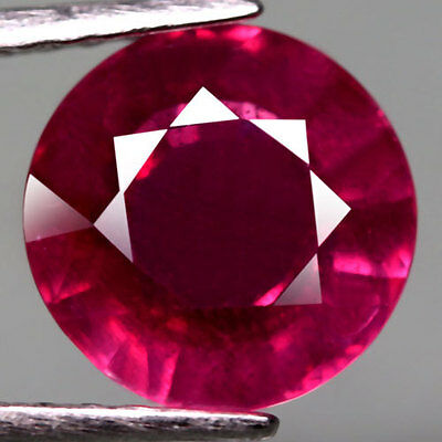 4.01Ct.glowing! Round Facet Pinkish Red Natural Ruby Mozambique