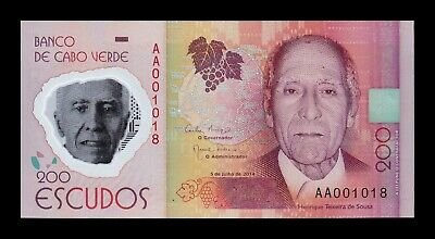 B-D-M Cabo Cape Verde 200 Escudos 2014 (2015) Pick 71 AA Low serial Polymer UNC
