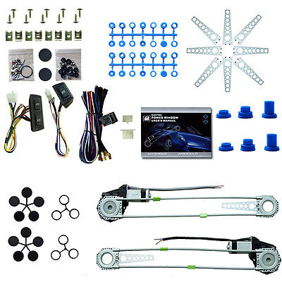 Universal 12V 2Door Electric Car Truck Power Window Lifter Conversion Kit Switch
