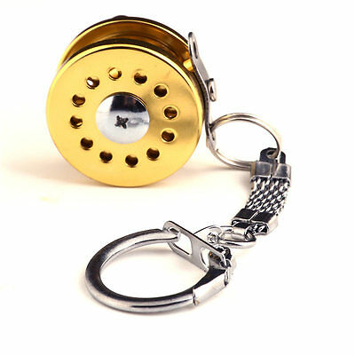 Gold Mini Fly Fishing Reel Miniature Pendant Key Ring  Key Chain Novelty Gift
